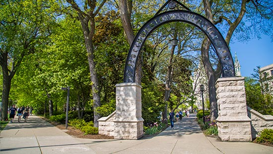 The arch on Evanston's campus